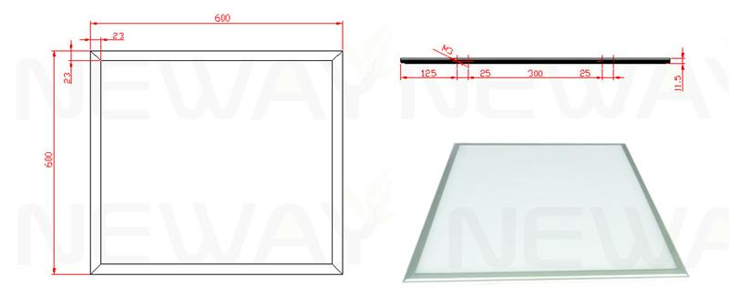36W 600x600 Dimmable LED Flat Panel Dimensional Drawings
