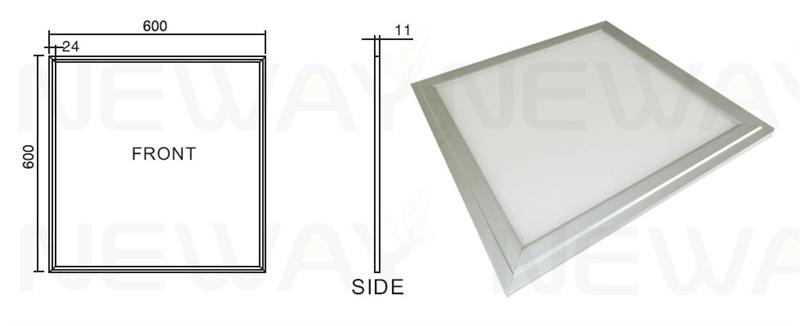 60w 600x600mm led panel light dimensional
