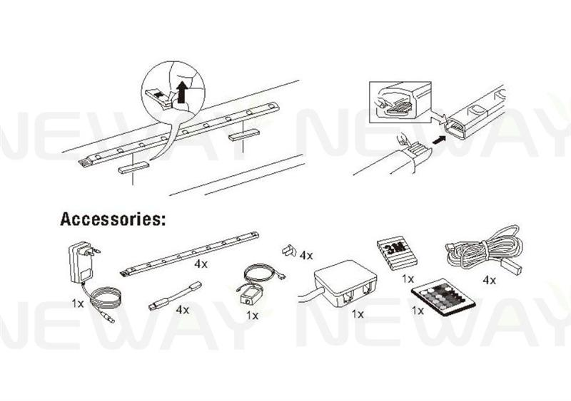 400mm rgb remote control led cabinet strip light bar kit