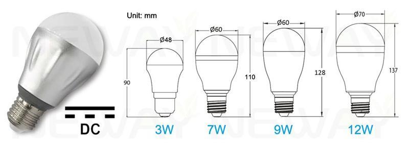 3w 7w 9w 12w Dc 12v Energy Saving Lamp Solar Powered E27