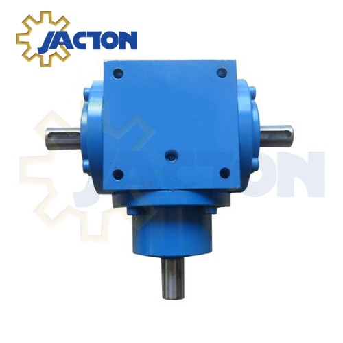 JTP bevel gearbox main structure includes pinion shaft, output shaft, bevel gear, housing, drive shaft bearing, output shaft bearing, shaft sealing ring, flang bearing and bearing cover.