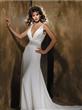 Beading Sash Column/Sheath Chiffon Wedding Dress