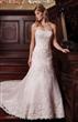 Strapless A line Applique Satin Lace Bridal Dress
