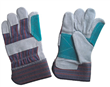 Stripe Fabric Leather Gloves