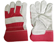 Full Palm Red Leather Gloves