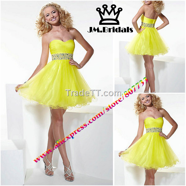 Bright color organza short prom dress - China Bright color organza ...