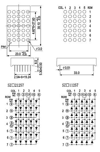 1 2 inch 5x7 dot matrix display sz11257 1 2 inch 5x7 dot